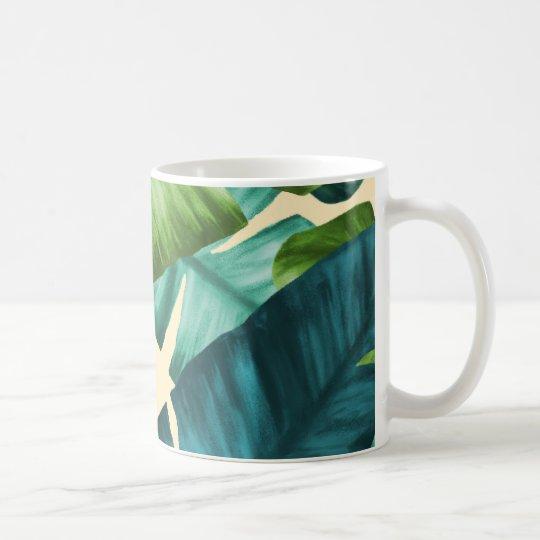 Tropical Banana Leaves Original Pattern Coffee Mug