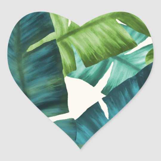 Tropical Banana Leaves Original Pattern Heart Sticker