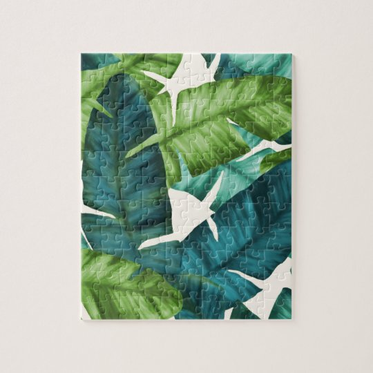 Tropical Banana Leaves Original Pattern Jigsaw Puzzle
