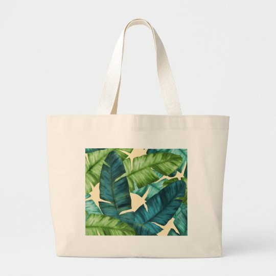 Tropical Banana Leaves Original Pattern Large Tote Bag