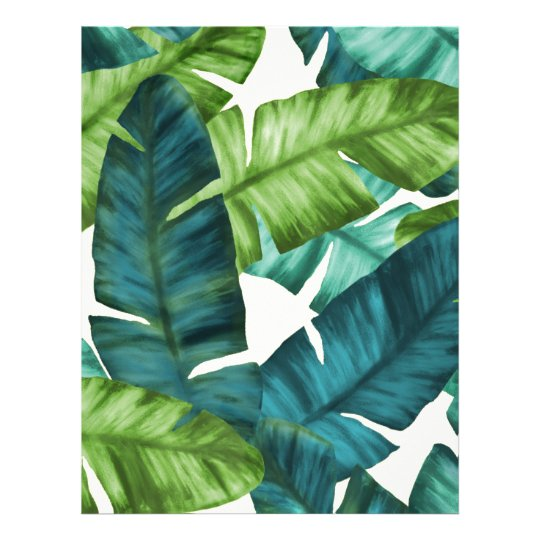 Tropical Banana Leaves Original Pattern Letterhead Template