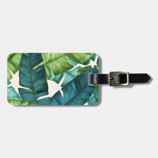 Tropical Banana Leaves Original Pattern Luggage Tag
