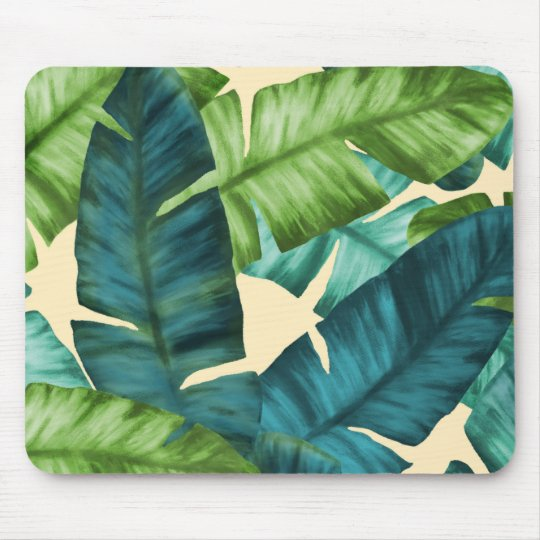 Tropical Banana Leaves Original Pattern Mouse Pad