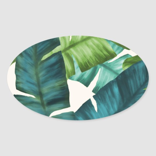Tropical Banana Leaves Original Pattern Oval Sticker