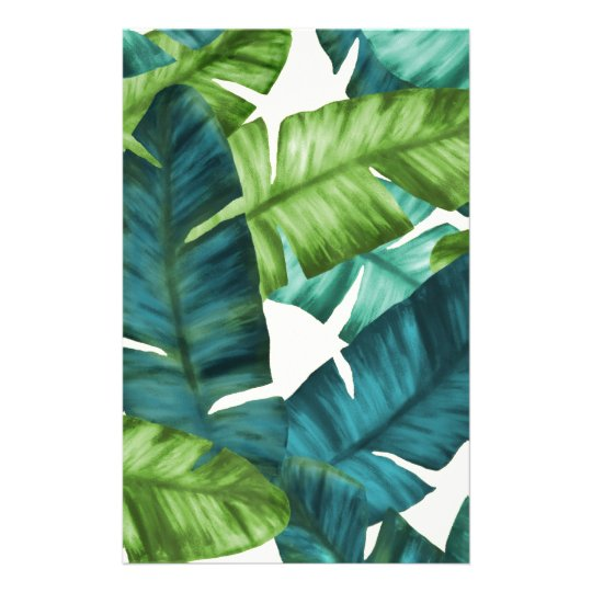 Tropical Banana Leaves Original Pattern Personalized Stationery