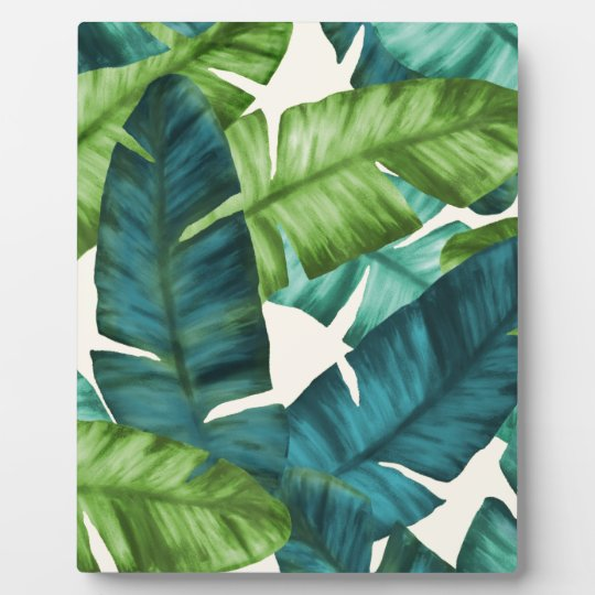 Tropical Banana Leaves Original Pattern Plaque