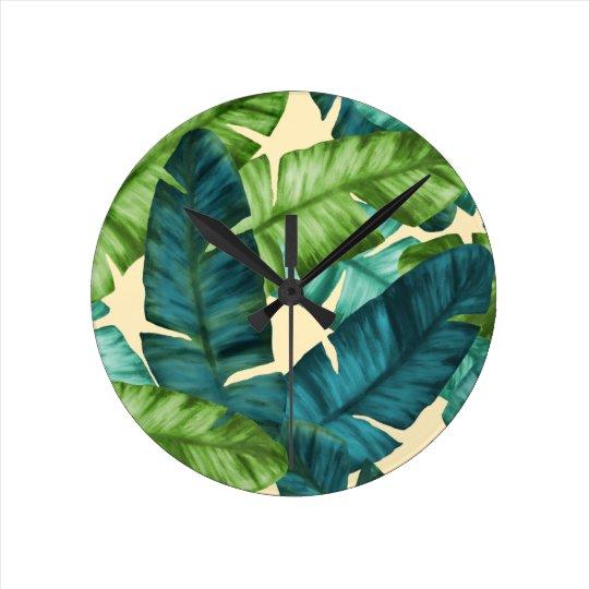 Tropical Banana Leaves Original Pattern Round Clock