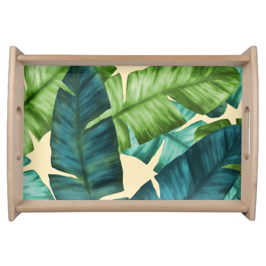 Tropical Banana Leaves Original Pattern Serving Tray