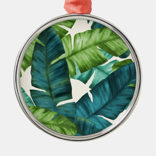 Tropical Banana Leaves Original Pattern Silver-Colored Round Ornament