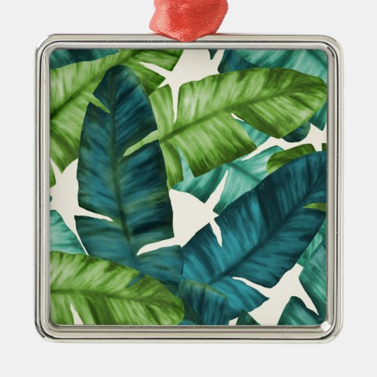 Tropical Banana Leaves Original Pattern Silver-Colored Square Ornament