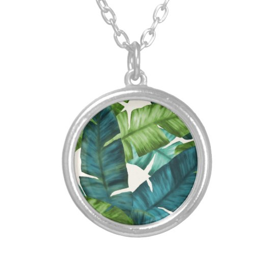 Tropical Banana Leaves Original Pattern Silver Plated Necklace