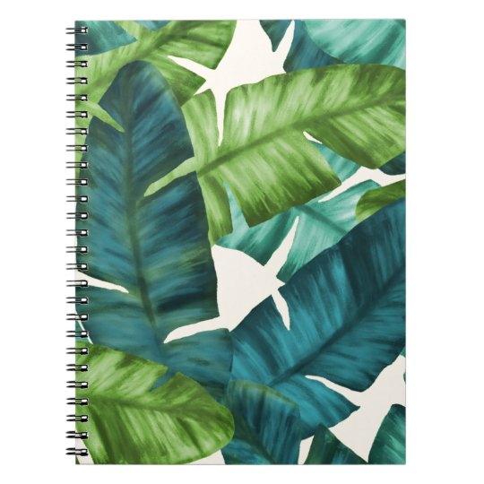 Tropical Banana Leaves Original Pattern Spiral Note Books