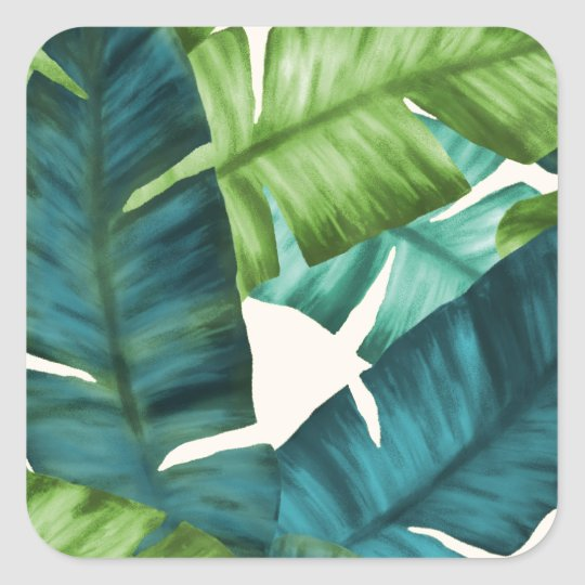 Tropical Banana Leaves Original Pattern Square Sticker