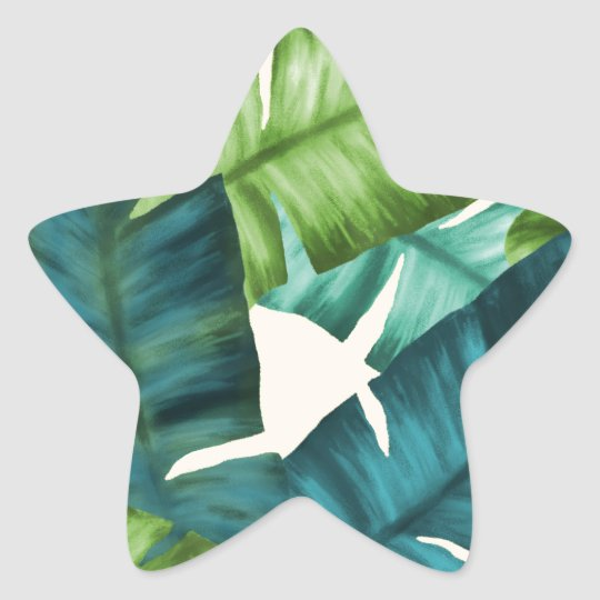Tropical Banana Leaves Original Pattern Star Sticker