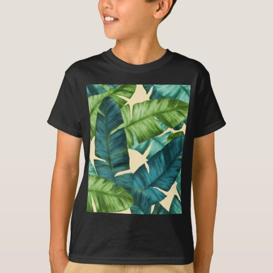Tropical Banana Leaves Original Pattern T-Shirt