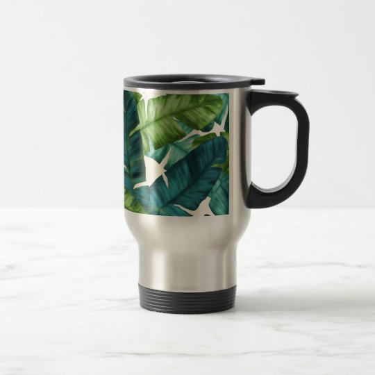 Tropical Banana Leaves Original Pattern Travel Mug