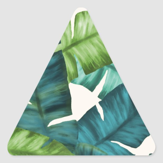 Tropical Banana Leaves Original Pattern Triangle Sticker