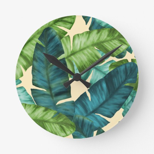 Tropical Banana Leaves Original Pattern Wallclock
