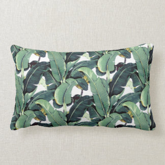 Tropical Banana Leaves Palm Lumbar Throw Pillow