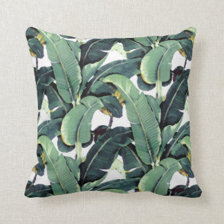 Tropical Banana Leaves Palm Throw Pillow