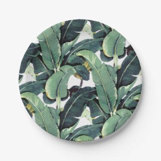 "Tropical Banana Leaves Palm Tree 7"" Paper Plates"
