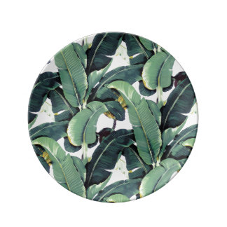 Tropical Banana Leaves Palm Tree Porcelain Plate