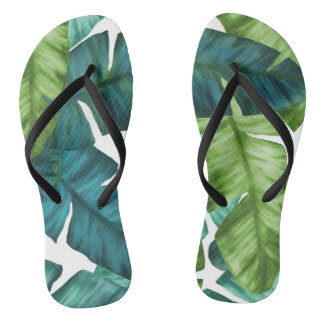 Tropical Banana Leaves Unique Pattern Flip Flops