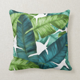 Tropical Banana Leaves Unique Pattern Throw Pillow