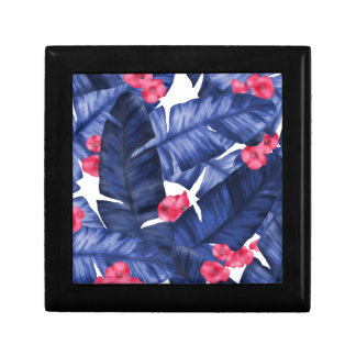 Tropical Banana Leaves With Flower Pattern Gift Box