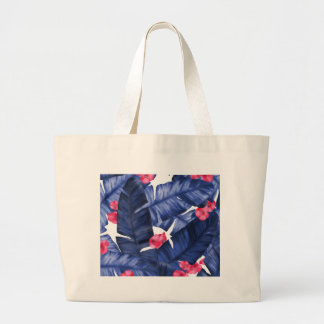 Tropical Banana Leaves With Flower Pattern Large Tote Bag