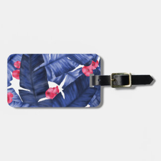 Tropical Banana Leaves With Flower Pattern Luggage Tag