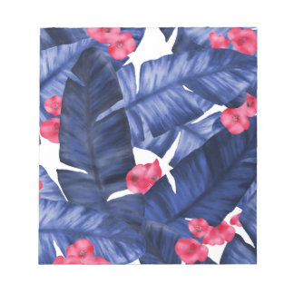 Tropical Banana Leaves With Flower Pattern Notepad