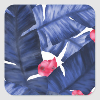 Tropical Banana Leaves With Flower Pattern Square Sticker