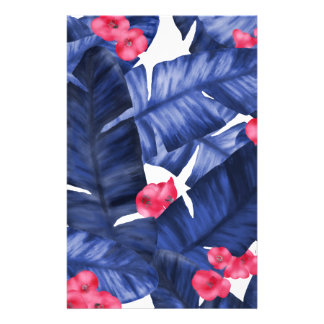 Tropical Banana Leaves With Flower Pattern Stationery