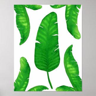"Tropical Banana Palm Leaf print 11""x14"" Watercolor"