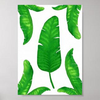 "Tropical Banana Palm Leaves print 5""x7"" Watercolor"