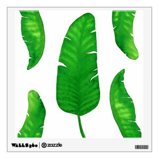 "Tropical Banana Palm Leaves Wall Decal 12""x12"""