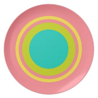 Tropical Banana Yellow Ring on Coral Pink Plates