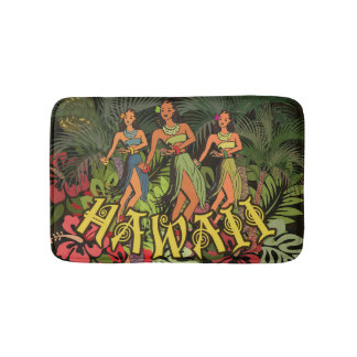 Tropical Bath Mat Hawaii Art Print Hula Palm