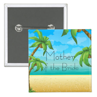 Tropical Beach and Palm Trees 2 Inch Square Button