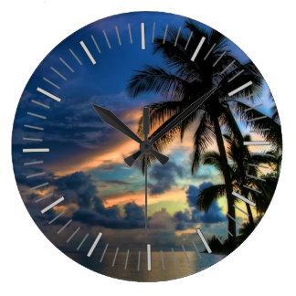 Tropical Beach and Palm Trees Clocks