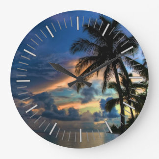 Tropical Beach and Palm Trees Large Clock