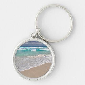 Tropical Beach and Sandy Beach Keychain