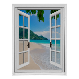 Tropical Beach Artificial Window View Poster