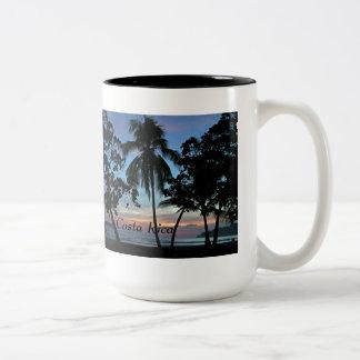 Tropical Beach at Sunset Two-Tone Coffee Mug