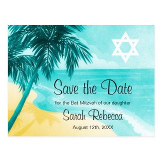 Tropical Beach Bat Mitzvah Save the Date Postcard