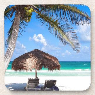Tropical beach beverage coasters