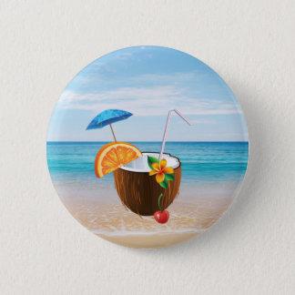 Tropical Beach,Blue Sky,Ocean Sand,Coconut Coctail 2 Inch Round Button