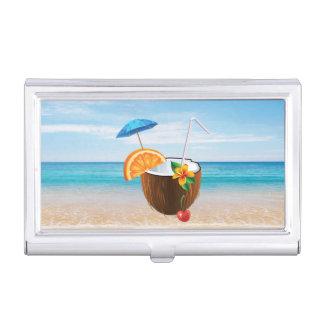 Tropical Beach,Blue Sky,Ocean Sand,Coconut Coctail Business Card Holder