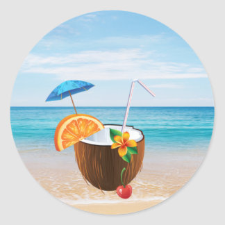 Tropical Beach,Blue Sky,Ocean Sand,Coconut Coctail Classic Round Sticker